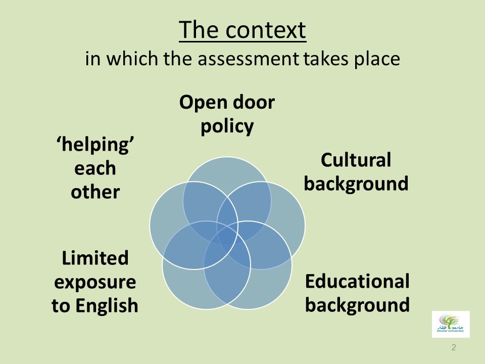 The context in which the assessment takes place