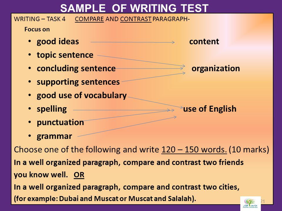 SAMPLE OF WRITING TEST good ideas content topic sentence