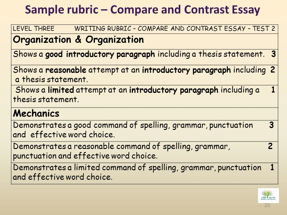Rubric for compare contrast essay