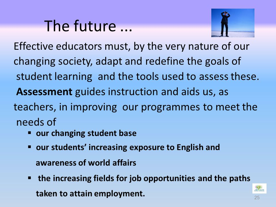 The future ... Effective educators must, by the very nature of our