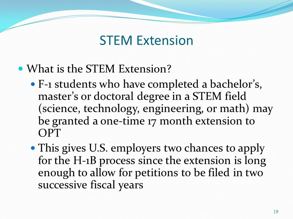 STEM Extension What is the STEM Extension