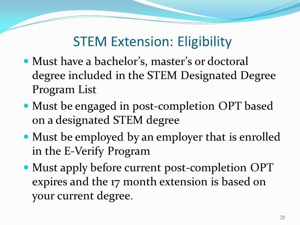 STEM Extension: Eligibility