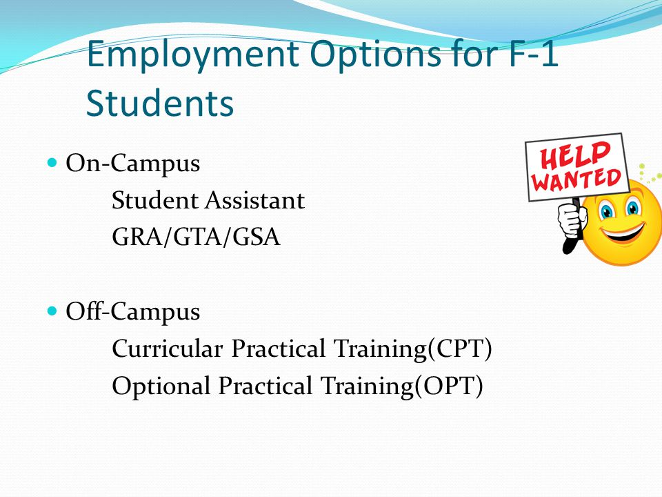 Employment Options for F-1 Students