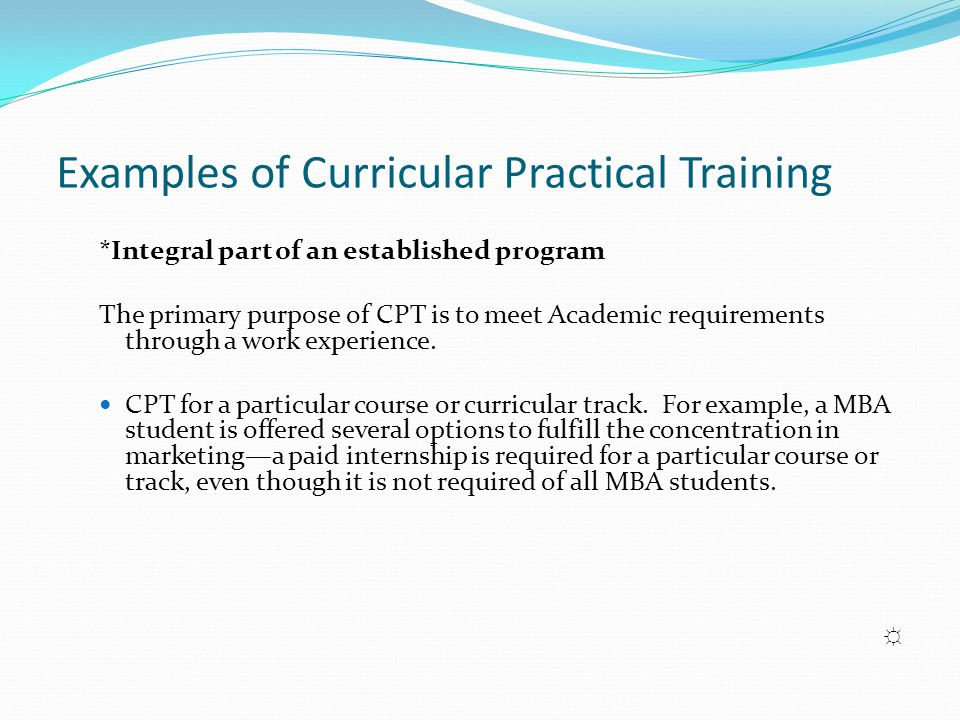Examples of Curricular Practical Training