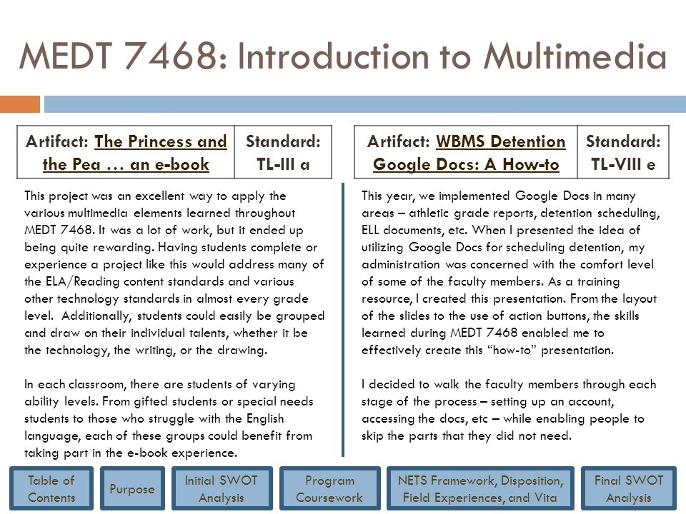 MEDT 7468: Introduction to Multimedia