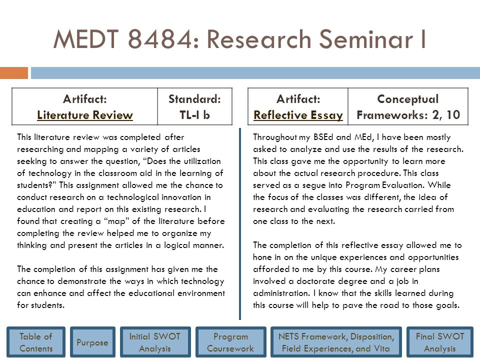 MEDT 8484: Research Seminar I