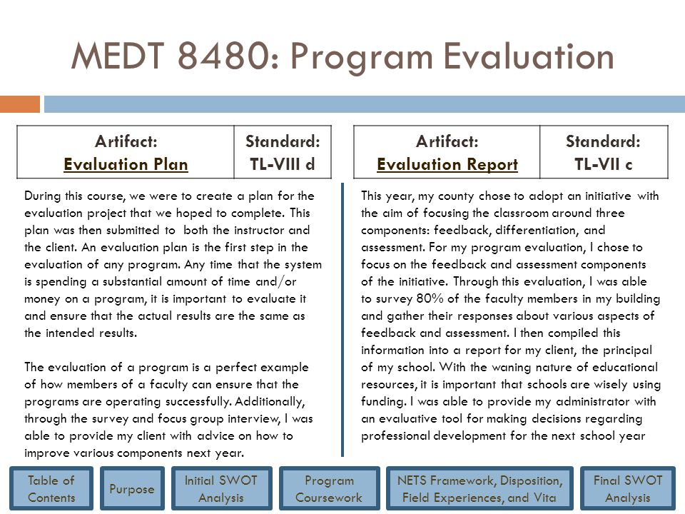 MEDT 8480: Program Evaluation