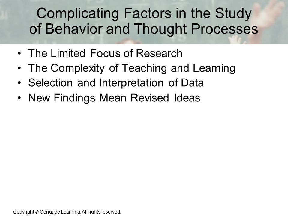 Complicating Factors in the Study of Behavior and Thought Processes