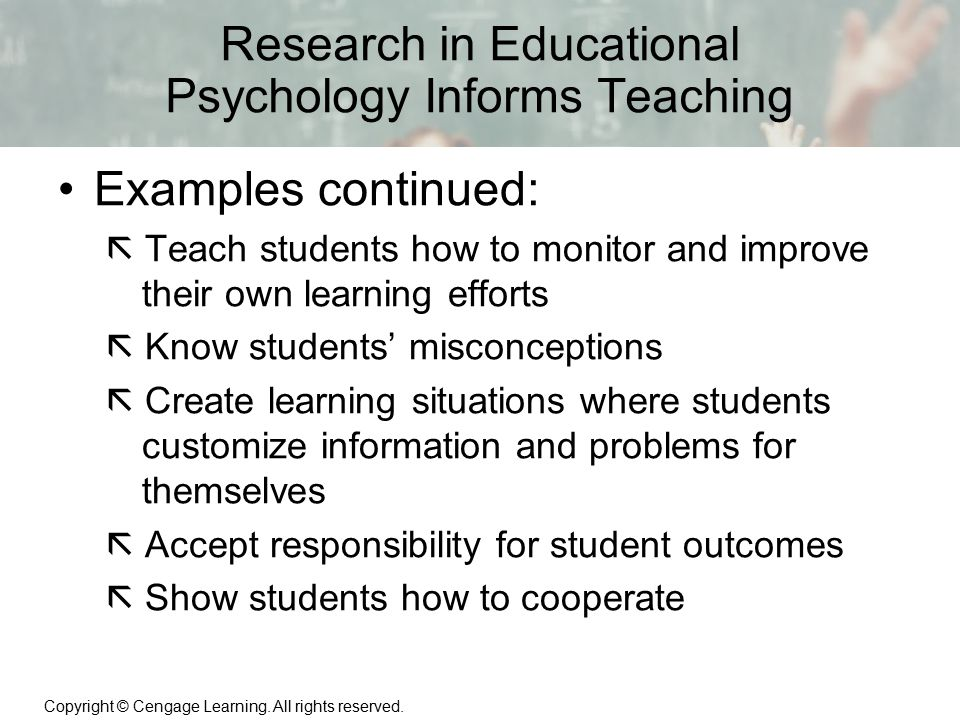 Research in Educational Psychology Informs Teaching