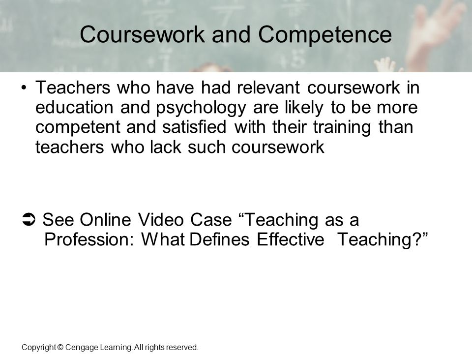 Coursework and Competence