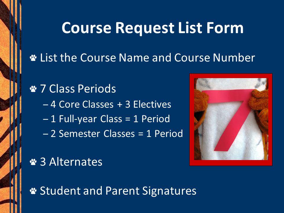Course Request List Form