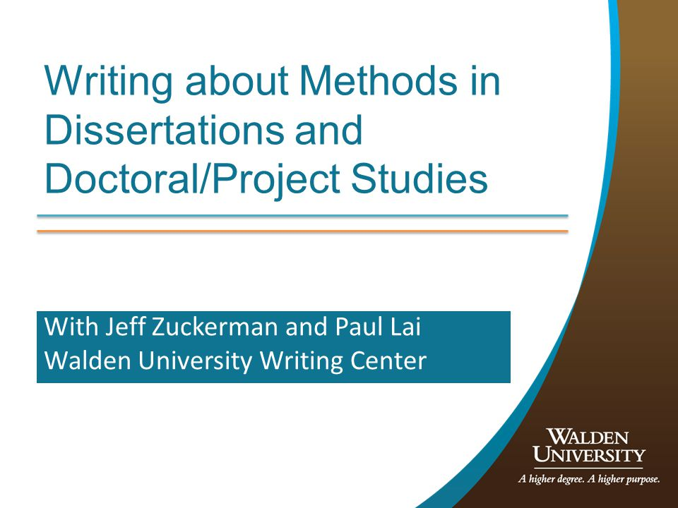 Writing about Methods in Dissertations and Doctoral/Project Studies