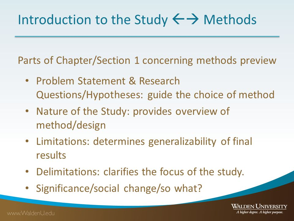 Introduction to the Study  Methods