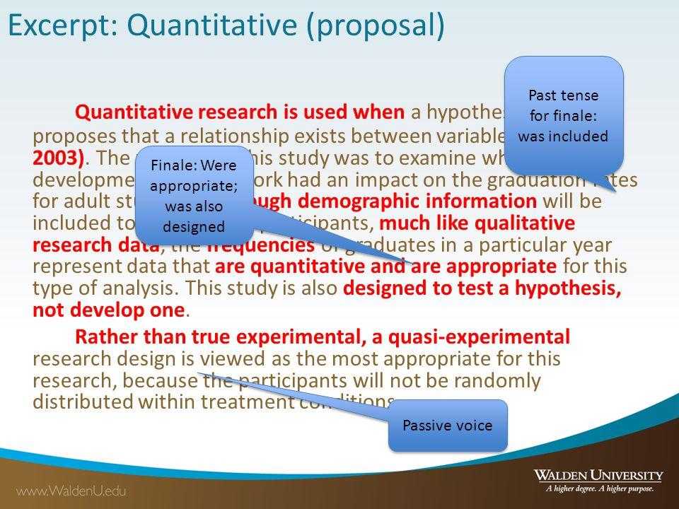 Excerpt: Quantitative (proposal)