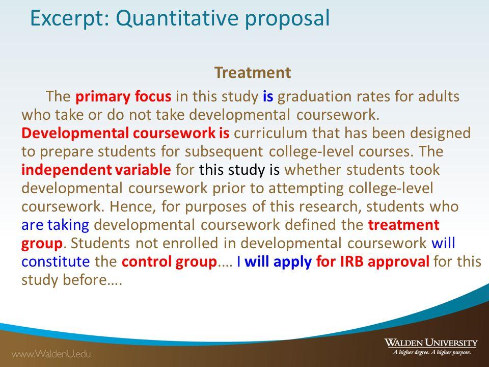 Excerpt: Quantitative proposal