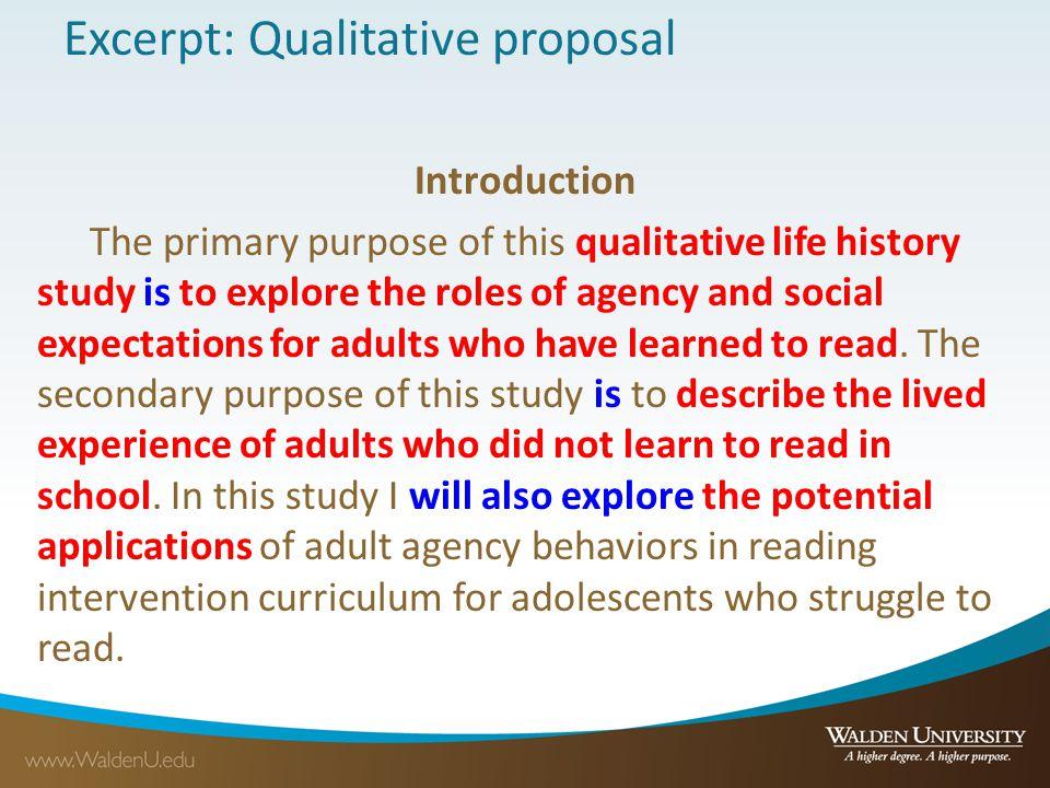 Excerpt: Qualitative proposal