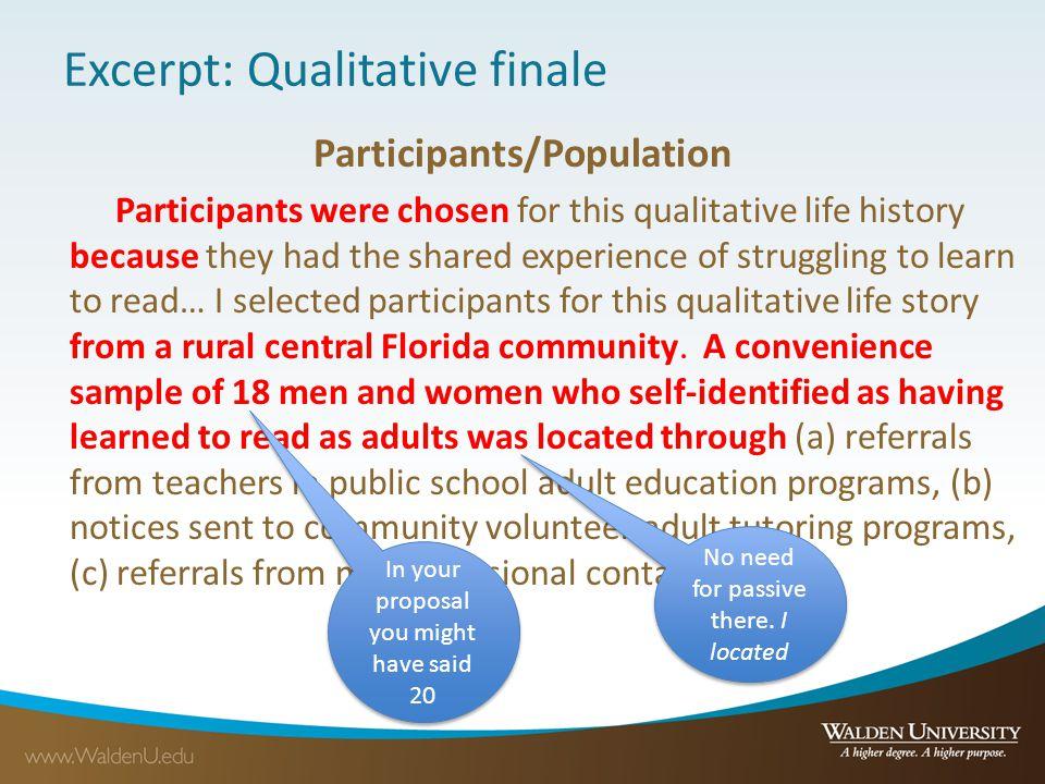 Excerpt: Qualitative finale