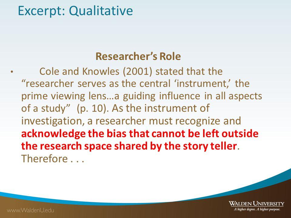 Excerpt: Qualitative Researcher's Role