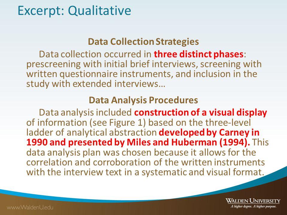 Data Collection Strategies Data Analysis Procedures