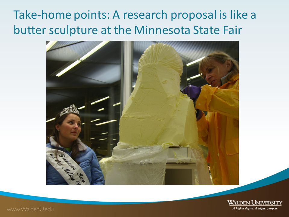 Take-home points: A research proposal is like a butter sculpture at the Minnesota State Fair