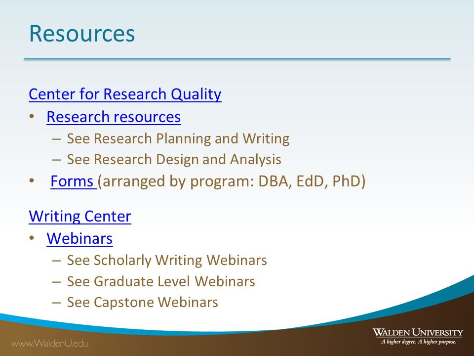 Resources Center for Research Quality Research resources