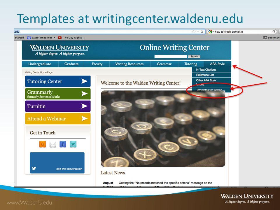 Templates at writingcenter.waldenu.edu