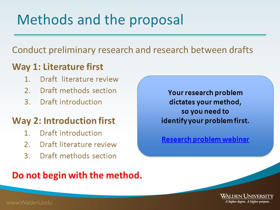 Methods and the proposal