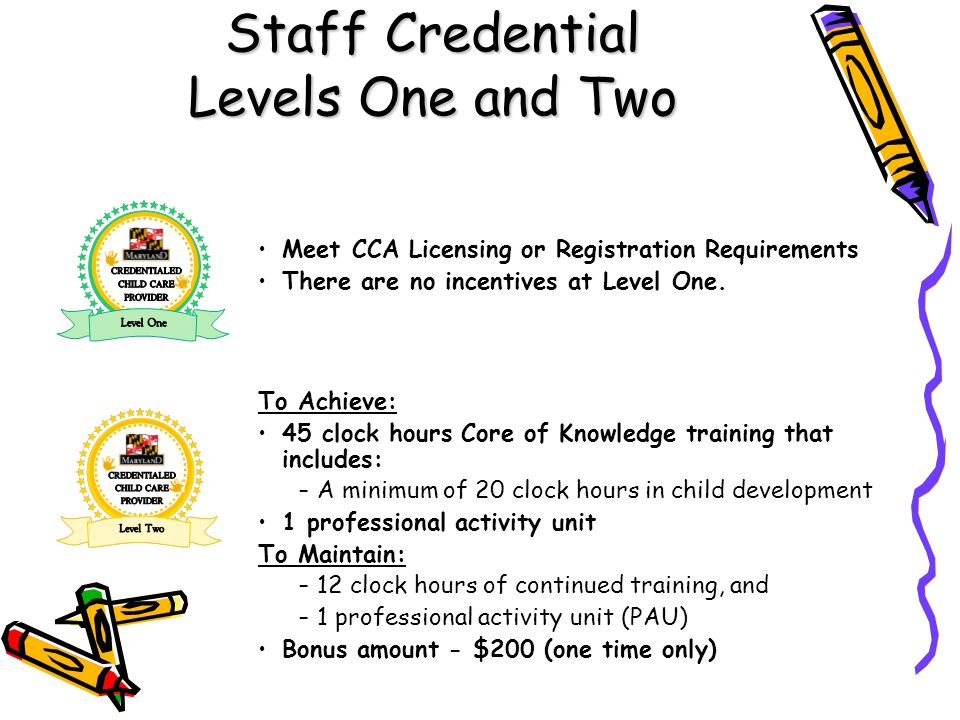 Staff Credential Levels One and Two