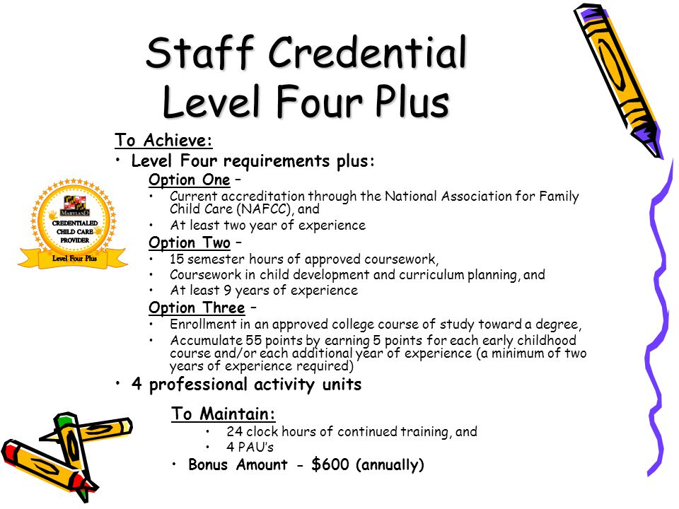 Staff Credential Level Four Plus