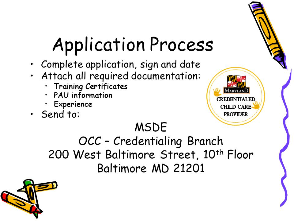 Application Process MSDE OCC – Credentialing Branch