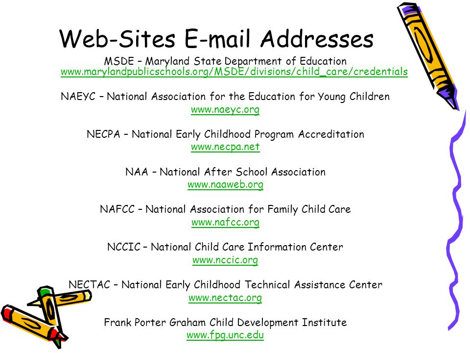 Web-Sites E-mail Addresses