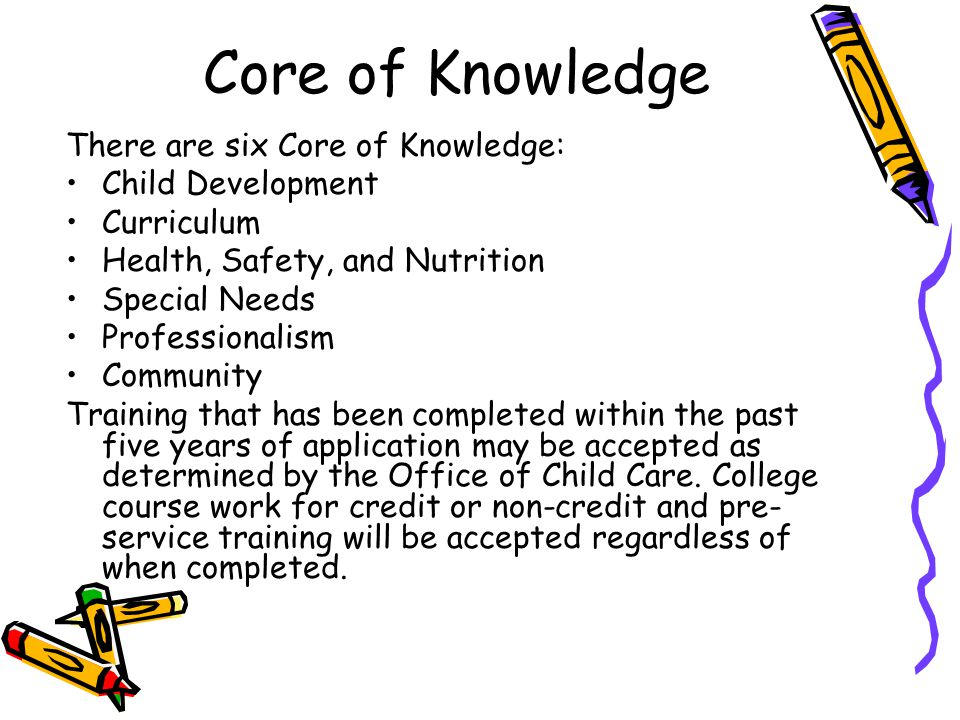 Core of Knowledge There are six Core of Knowledge: Child Development