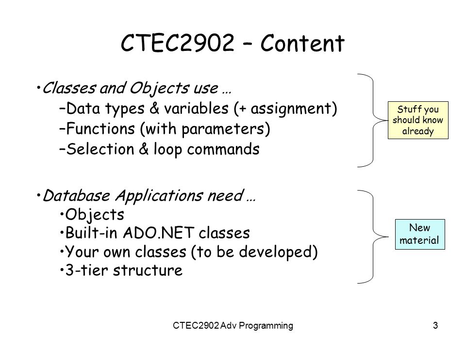 CTEC2902 – Content Classes and Objects use …