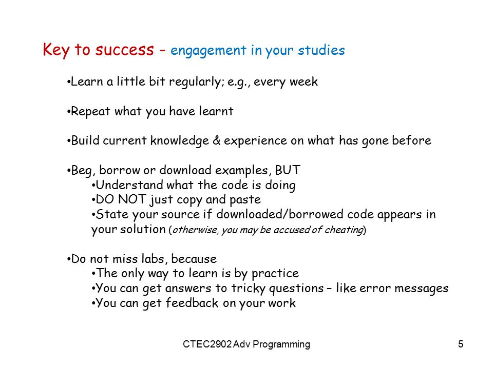 Key to success - engagement in your studies