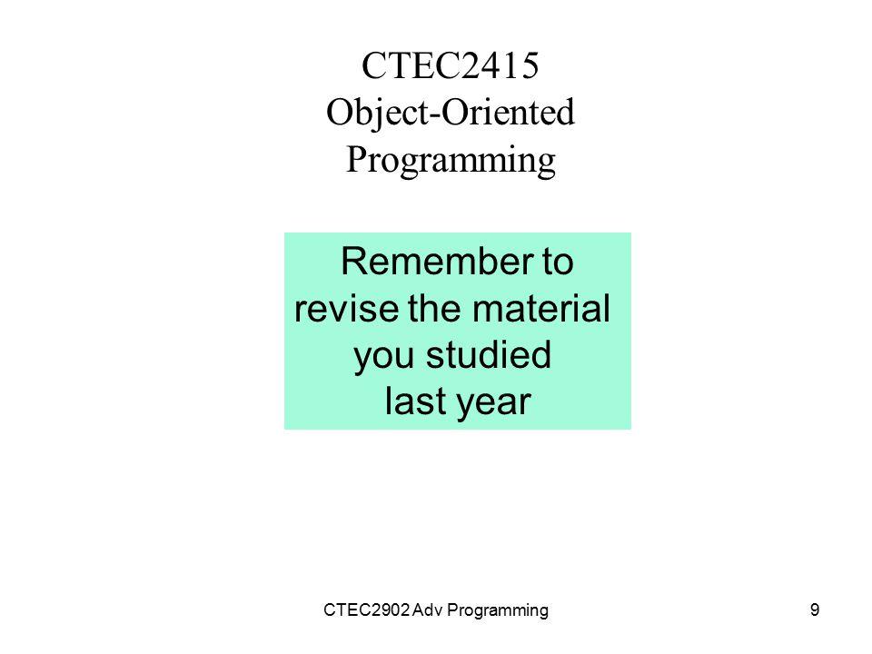 CTEC2415 Object-Oriented Programming