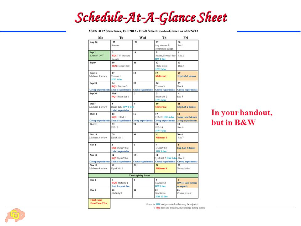 Schedule-At-A-Glance Sheet