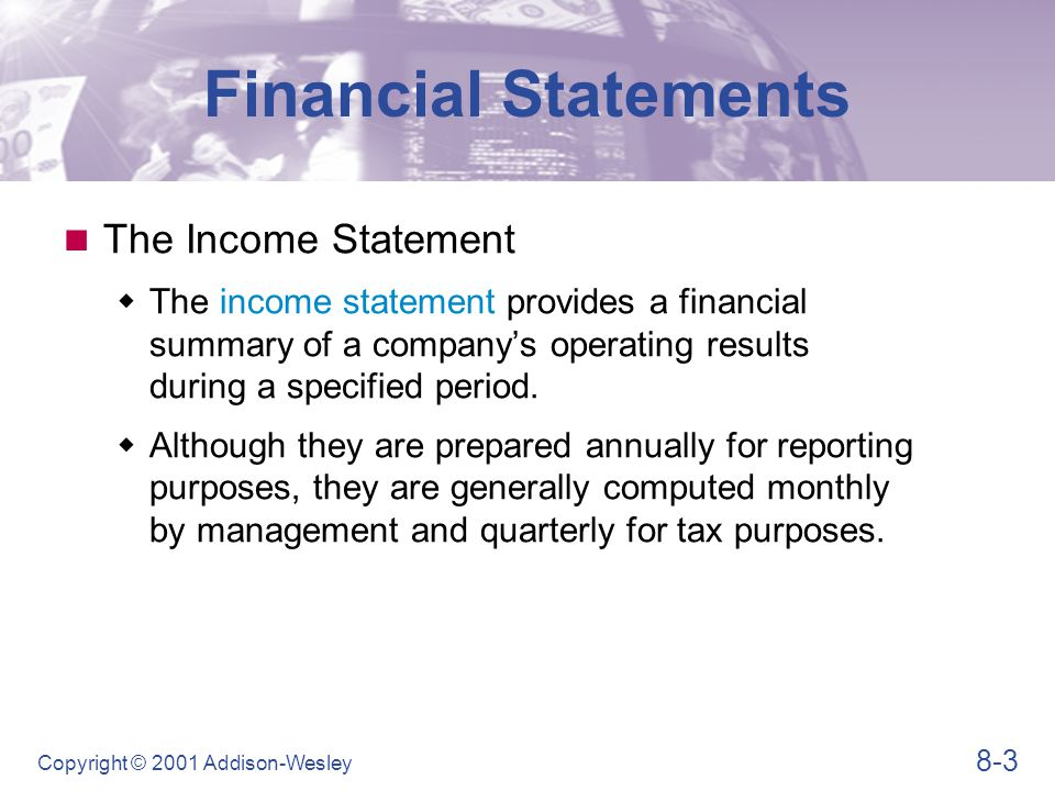 Financial Statements Table 8.1 (Panel 1)