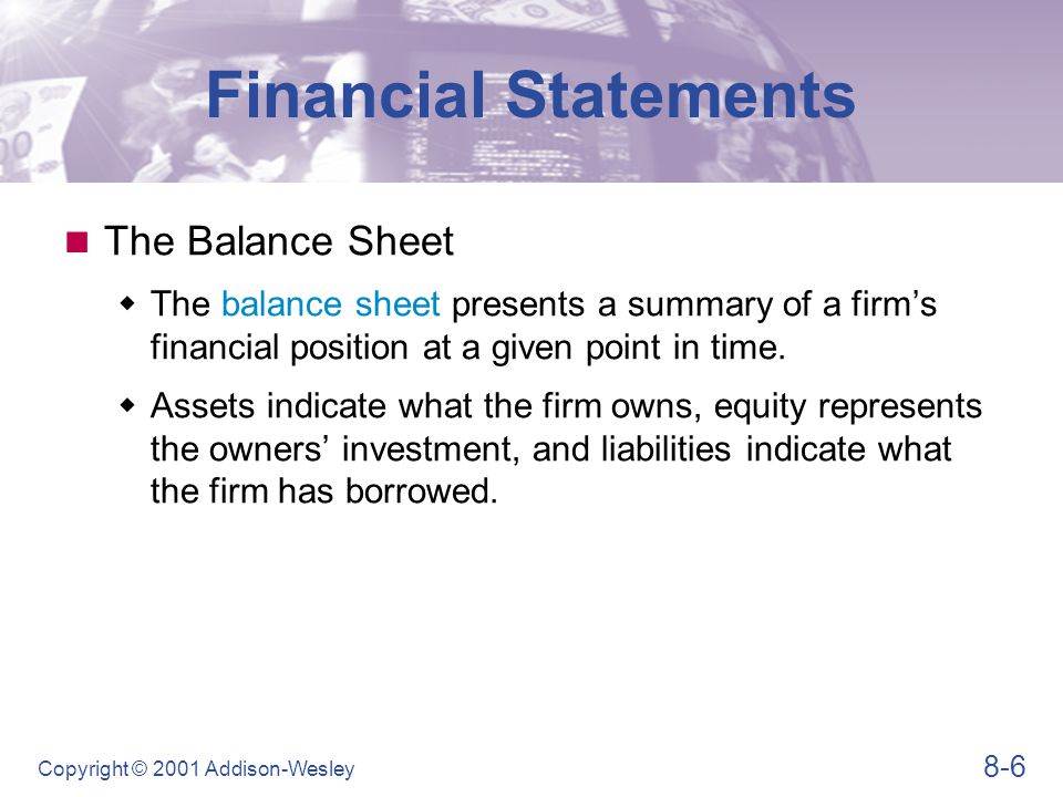 Financial Statements Table 8.2 (Panel 1)
