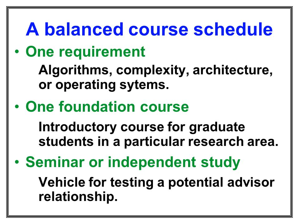 A balanced course schedule