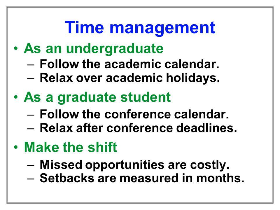 Time management As an undergraduate As a graduate student