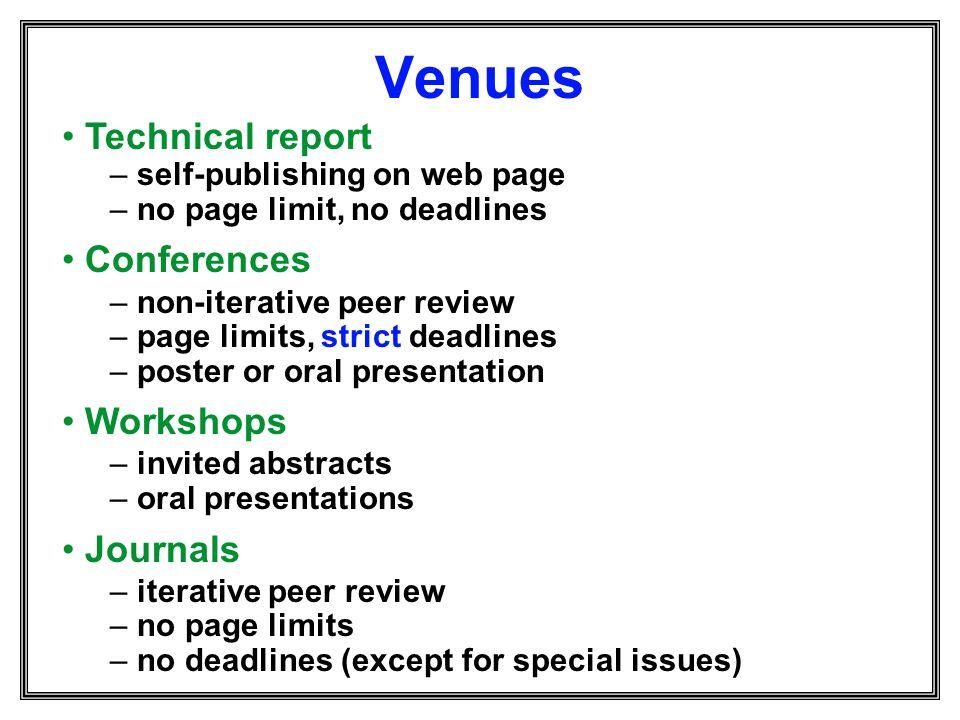 Venues Technical report Conferences Workshops Journals
