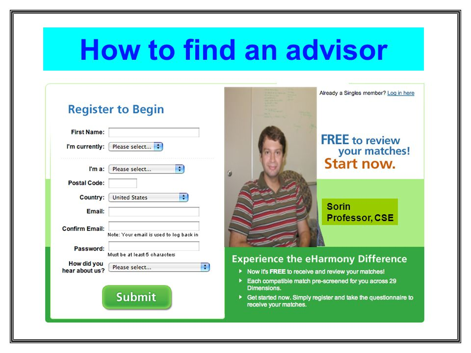 How to find an advisor Sorin Professor, CSE