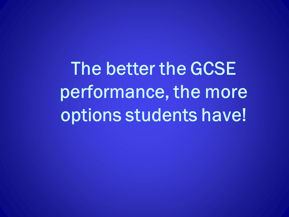 The better the GCSE performance, the more options students have!