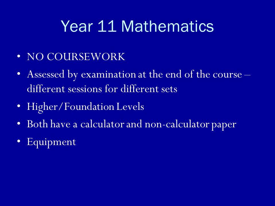 Year 11 Mathematics NO COURSEWORK