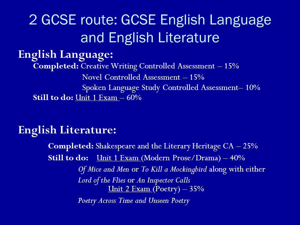 2 GCSE route: GCSE English Language and English Literature