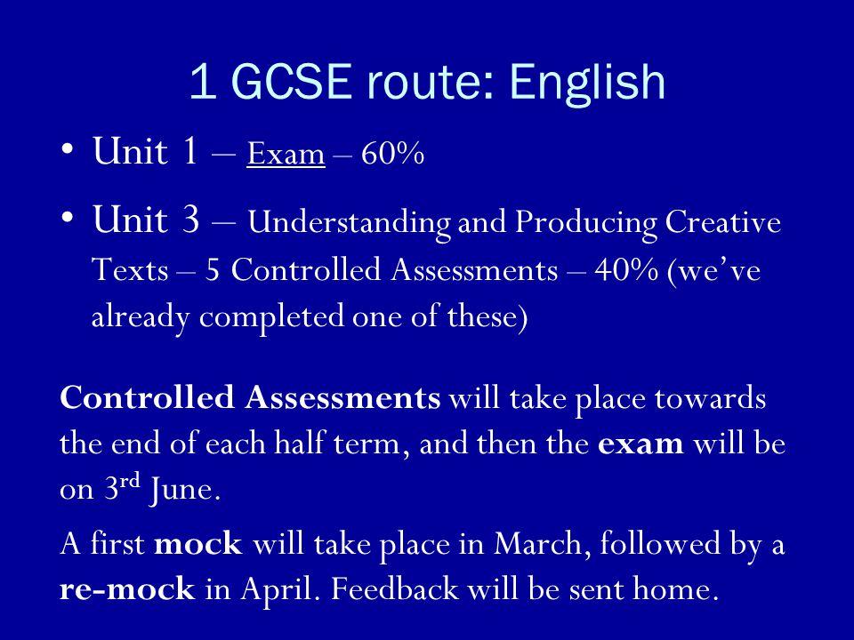 1 GCSE route: English Unit 1 – Exam – 60%