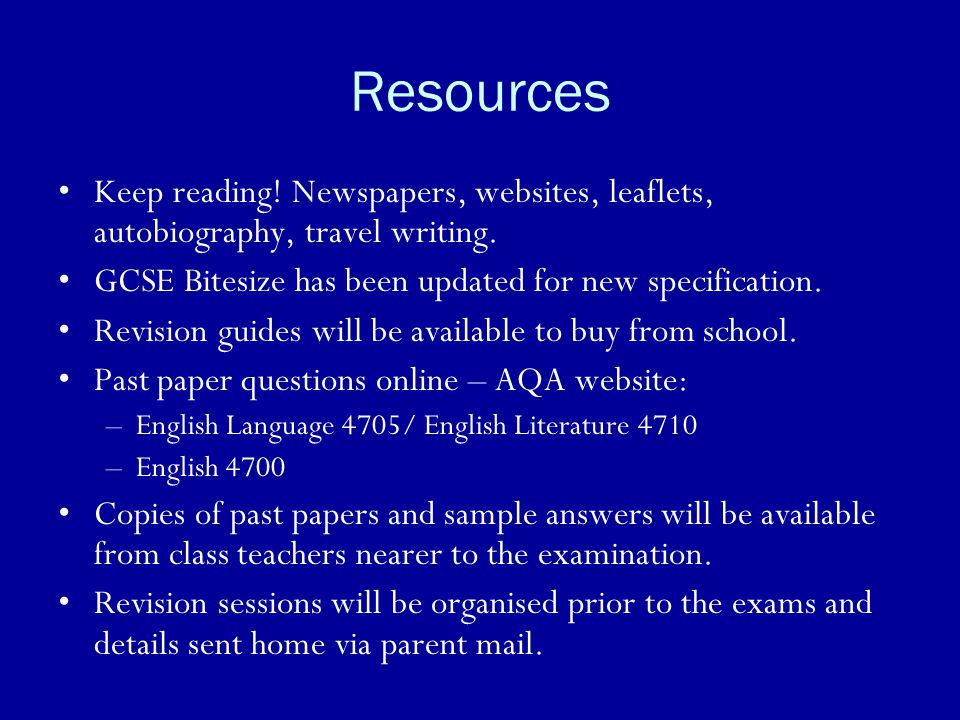 Resources Keep reading! Newspapers, websites, leaflets, autobiography, travel writing. GCSE Bitesize has been updated for new specification.