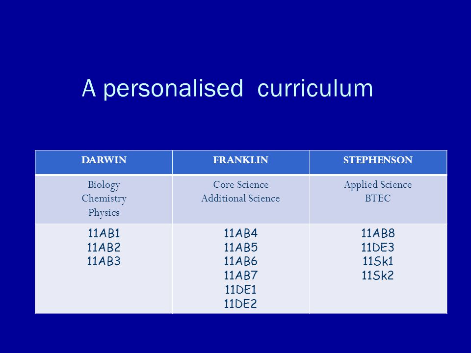 A personalised curriculum