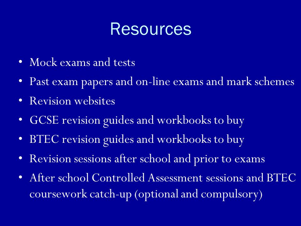 Resources Mock exams and tests