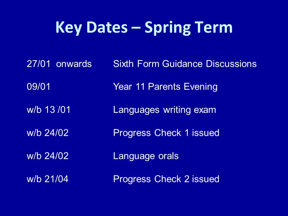Key Dates – Spring Term 27/01 onwards Sixth Form Guidance Discussions